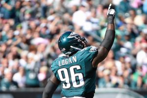 Bennie Logan celebrates after making a tackle in the backfield during the Eagles game against the Saints in 2015.