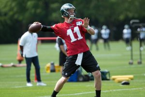 The Eagles Carson Wentz looks for a receiver during training camp late last week.