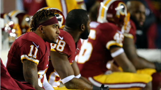Redskins receivers DeSean Jackson and Pierre Garcon during a game in 2015.
