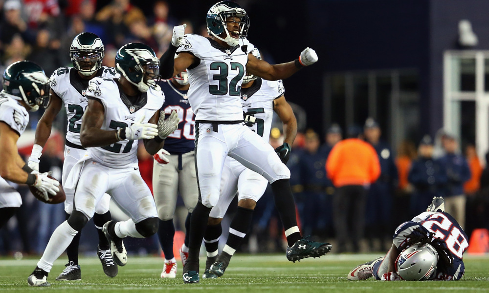 FOXBORO, MA - DECEMBER 06:  Eric Rowe #32 of the Philadelphia Eagles celebrates after an incomplete New England Patriots pass during the fourth quarter at Gillette Stadium on December 6, 2015 in Foxboro, Massachusetts.  (Photo by Jim Rogash/Getty Images)