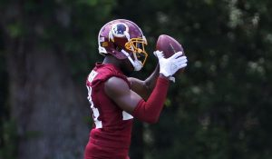 Josh Norman make's a catch during a drill in Training Camp.