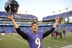 Justin Tucker celebrates after winning a game in Baltimore during the 2014 season.