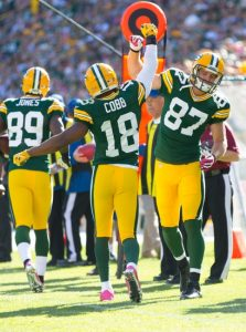 The Packers Randall Cobb and Jordy Nelson celebrate after a touchdown in 2014.