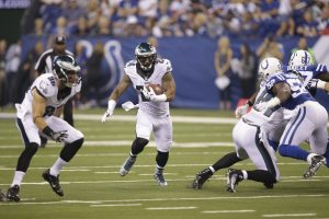 Philadelphia Eagles running back Ryan Mathews (24) runs against the Indianapolis Colts during the first half of an NFL preseason football game in Indianapolis, Saturday, Aug. 27, 2016. (AP Photo/AJ Mast)