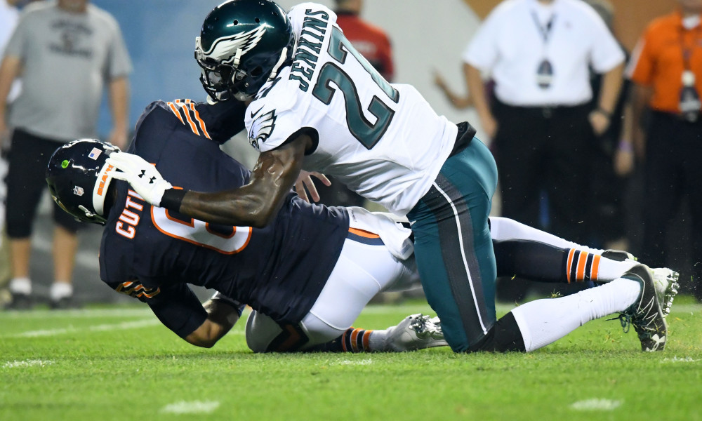 Sep 19, 2016; Chicago, IL, USA;  Philadelphia Eagles strong safety Malcolm Jenkins (27) sacks Chicago Bears quarterback Jay Cutler (6) during the first quarter at Soldier Field. Mandatory Credit: Mike DiNovo-USA TODAY Sports