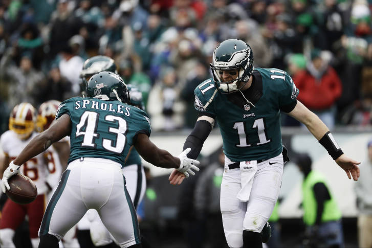 Philadelphia Eagles' Carson Wentz, right, and Darren Sproles celebrate after Sproles' touchdown during the first half of an NFL football game against the Washington Redskins, Sunday, Dec. 11, 2016, in Philadelphia. (AP Photo/Michael Perez)