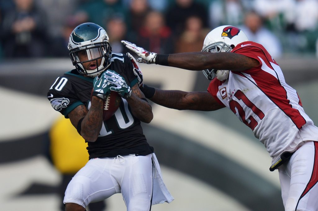 PHILADELPHIA, PA - DECEMBER 01: DeSean Jackson #10 of the Philadelphia Eagles catches a pass while being defended by Patrick Peterson #21 of the Arizona Cardinals at Lincoln Financial Field on December 1, 2013 in Philadelphia, Pennsylvania. The Eagles won 24-21. (Photo by Drew Hallowell/Philadelphia Eagles/Getty Images)