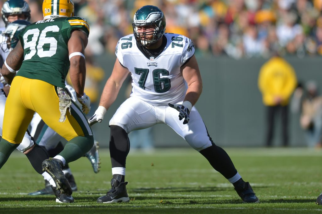 GREEN BAY, WI - NOVEMBER 10: Allen Barbre #76 of the Philadelphia Eagles blocks against the Green Bay Packers at Lambeau Field on November 10, 2013 in Green Bay, Wisconsin. (Photo by Drew Hallowell/Philadelphia Eagles/Getty Images)