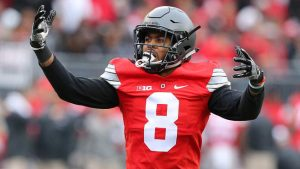 Gareon Conley celebrates after making a play against Michigan.
