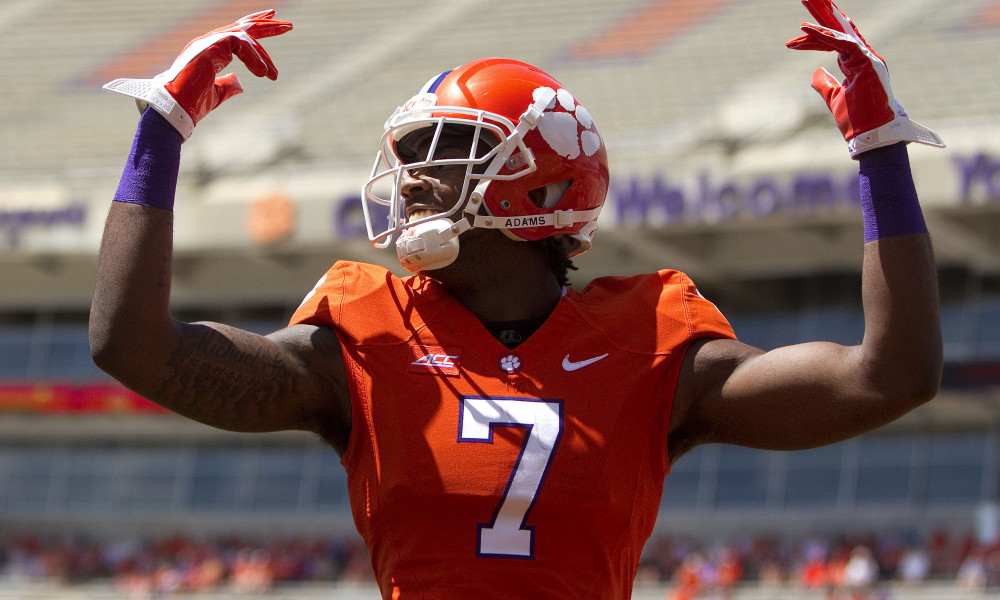 Apr 11, 2015; Clemson, SC, USA; Clemson Tigers wide receiver Mike Williams (7) celebrates after scoring a touchdown during the first half of the Clemson spring game at Clemson Memorial Stadium. Mandatory Credit: Joshua S. Kelly-USA TODAY Sports