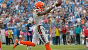 Oct 16, 2016; Nashville, TN, USA; Cleveland Browns wide receiver Terrelle Pryor (11) spikes the ball after scores a touchdown against the Tennessee Titans during the second half at Nissan Stadium. Tennessee won 28-26. Mandatory Credit: Jim Brown-USA TODAY Sports