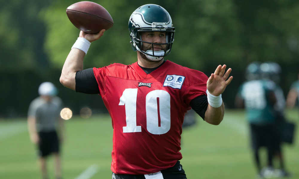 May 24, 2016; Philadelphia, PA, USA; Philadelphia Eagles quarterback Chase Daniel (10) throws during OTS's at the NovaCare Complex. Mandatory Credit: Bill Streicher-USA TODAY Sports