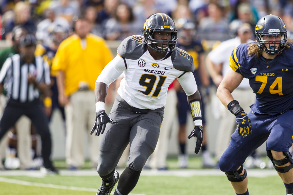 06 SEPTEMBER 2014:  Missouri Tigers  defensive lineman Charles Harris (91) during game action between the Missouri Tigers (24/22), of the Southeastern Conference, and the Toledo Rockets, of the Mid-American Conference, in a non-conference regular season game played at Glass Bowl Stadium in Toledo, Ohio.