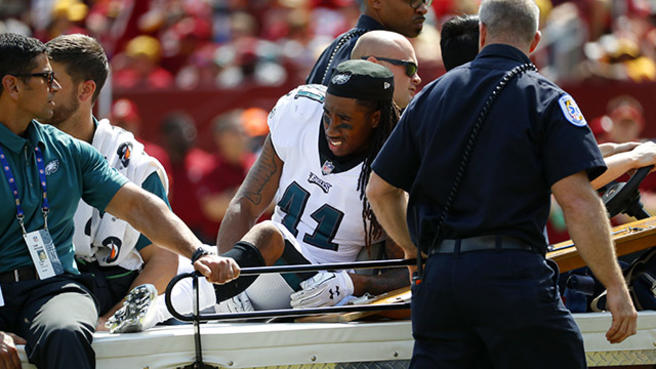 Philadelphia Eagles cornerback Ronald Darby rides a cart off the field after being injured in the first half of an NFL football game against the Washington Redskins, Sunday, Sept. 10, 2017, in Landover, Md. (AP Photo/Alex Brandon)