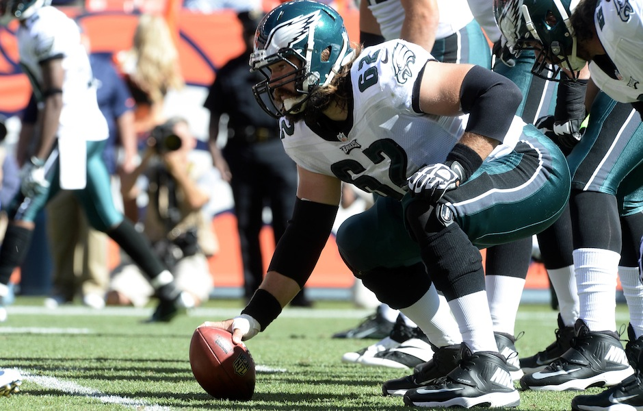 Sep 29, 2013; Denver, CO, USA; Philadelphia Eagles center Jason Kelce (62) at the line of scrimmage against the Denver Broncos in the first quarter at Sports Authority Field at Mile High. Mandatory Credit: Ron Chenoy-USA TODAY Sports