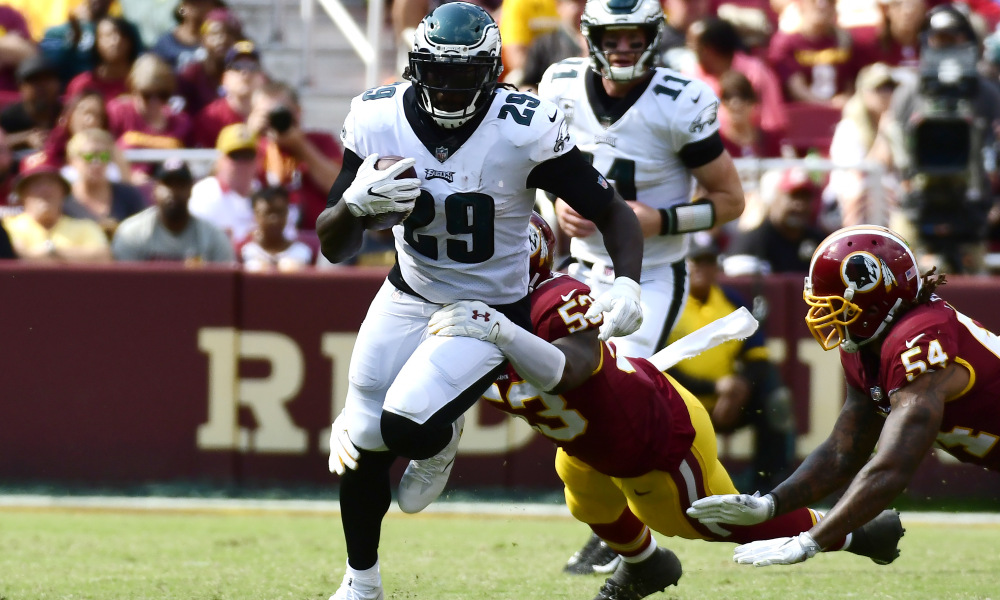 Sep 10, 2017; Landover, MD, USA; Philadelphia Eagles running back LeGarrette Blount (29) runs through Washington Redskins linebacker Zach Brown (53) arm tackle at FedEx Field. Philadelphia Eagles defeated Washington Redskins 30-17. Mandatory Credit: Tommy Gilligan-USA TODAY Sports