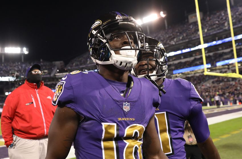 BALTIMORE, MD - OCTOBER 26: Wide Receiver Jeremy Maclin #18 and wide receiver Breshad Perriman #11 of the Baltimore Ravens celebrate after a first quarter touchdown against the Miami Dolphins at M&T Bank Stadium on October 26, 2017 in Baltimore, Maryland. (Photo by Rob Carr/Getty Images)