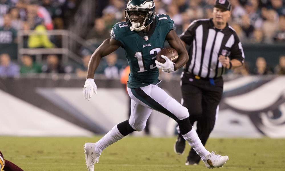 Oct 23, 2017; Philadelphia, PA, USA; Philadelphia Eagles wide receiver Nelson Agholor (13) in action against the Washington Redskins during the second quarter at Lincoln Financial Field. Mandatory Credit: Bill Streicher-USA TODAY Sports