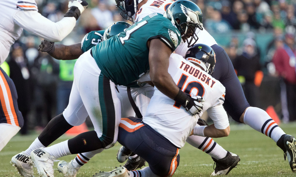 Nov 26, 2017; Philadelphia, PA, USA; Philadelphia Eagles defensive tackle Fletcher Cox (91) sackes Chicago Bears quarterback Mitchell Trubisky (10) during the fourth quarter at Lincoln Financial Field. Mandatory Credit: Bill Streicher-USA TODAY Sports