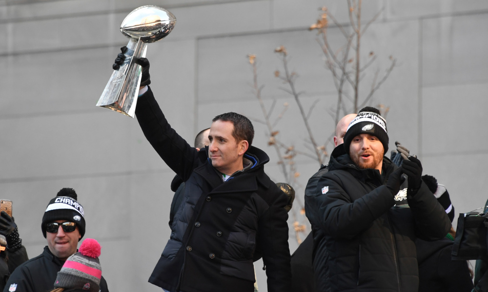 Feb 8, 2018; Philadelphia, PA, USA; Philadelphia Eagles general manager Howie Roseman holds the Lombardi trophy during Super Bowl LII champions parade. Mandatory Credit: Kirby Lee-USA TODAY Sports