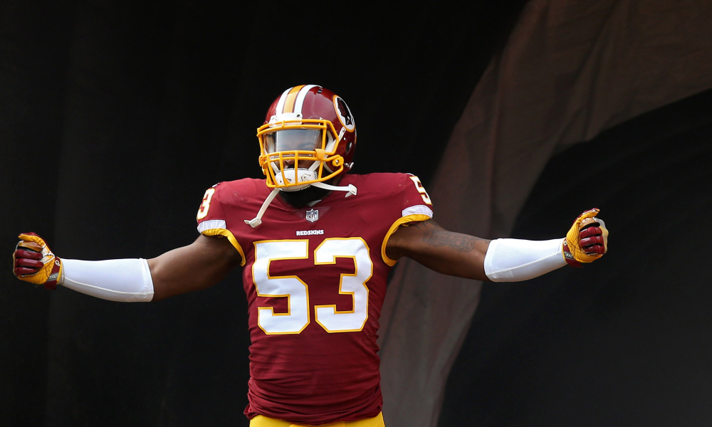 Nov 12, 2017; Landover, MD, USA; Washington Redskins inside linebacker Zach Brown (53) runs onto the field during player introductions prior to the Redskins' game against the Minnesota Vikings at FedEx Field. Mandatory Credit: Geoff Burke-USA TODAY Sports