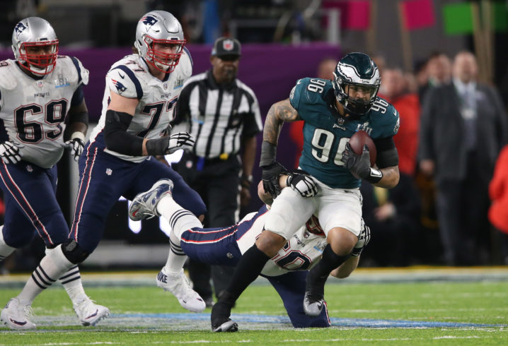 Feb 4, 2018; Minneapolis, MN, USA; Philadelphia Eagles defensive end Derek Barnett (96) recovers a New England Patriots fumble during the fourth quarter in Super Bowl LII at U.S. Bank Stadium. Mandatory Credit: Winslow Townson-USA TODAY Sports