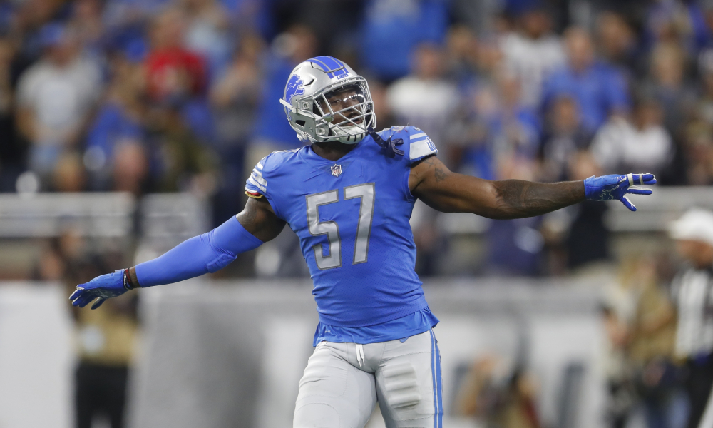 Detroit Lions linebacker Eli Harold reacts after sacking New England Patriots quarterback Tom Brady during the second half of an NFL football game, Sunday, Sept. 23, 2018, in Detroit. (AP Photo/Paul Sancya)