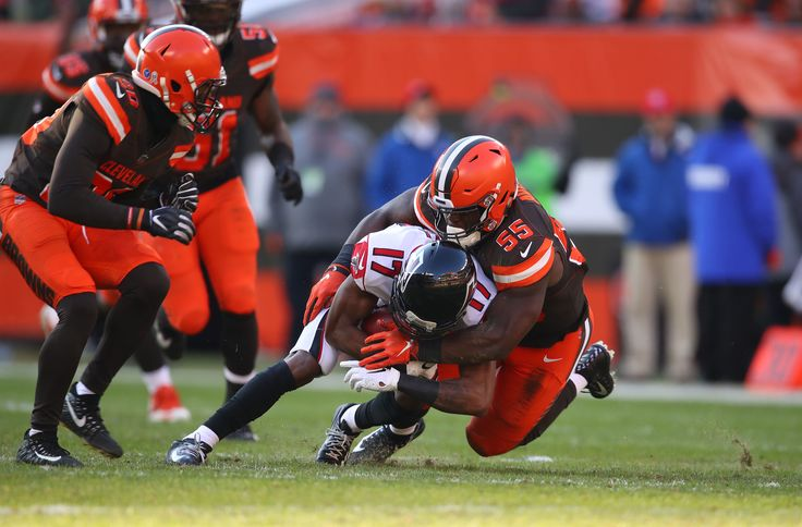 CLEVELAND, OH - NOVEMBER 11: Marvin Hall #17 of the Atlanta Falcons is tackled by Genard Avery #55 of the Cleveland Browns at FirstEnergy Stadium on November 11, 2018 in Cleveland, Ohio. The Browns won 28 to 16. (Photo by Gregory Shamus/Getty Images)