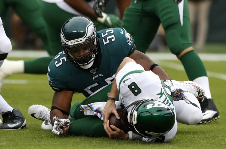 PHILADELPHIA, PENNSYLVANIA - OCTOBER 06: Quarterback Luke Falk #8 of the New York Jets is sacked by defensive end Brandon Graham #55 of the Philadelphia Eagles during the first half at Lincoln Financial Field on October 06, 2019 in Philadelphia, Pennsylvania. (Photo by Todd Olszewski/Getty Images)
