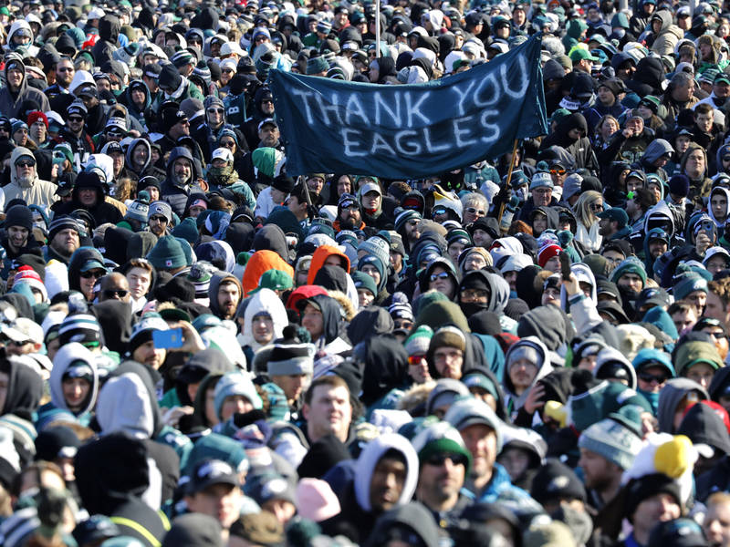 PHILADELPHIA, PA - FEBRUARY 08: Fans bundled against the cold await the start of the Philadelphia Eagles Super Bowl Championship parade on February 8, 2018 in Philadelphia, Pennsylvania. (Photo by Aaron P. Bernstein/Getty Images)