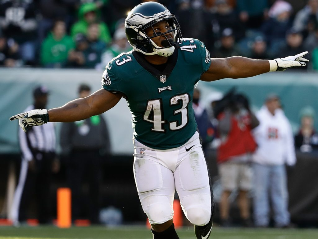 Philadelphia Eagles' Darren Sproles reacts during the second half of an NFL football game against the Houston Texans, Sunday, Dec. 23, 2018, in Philadelphia. (AP Photo/Matt Rourke)