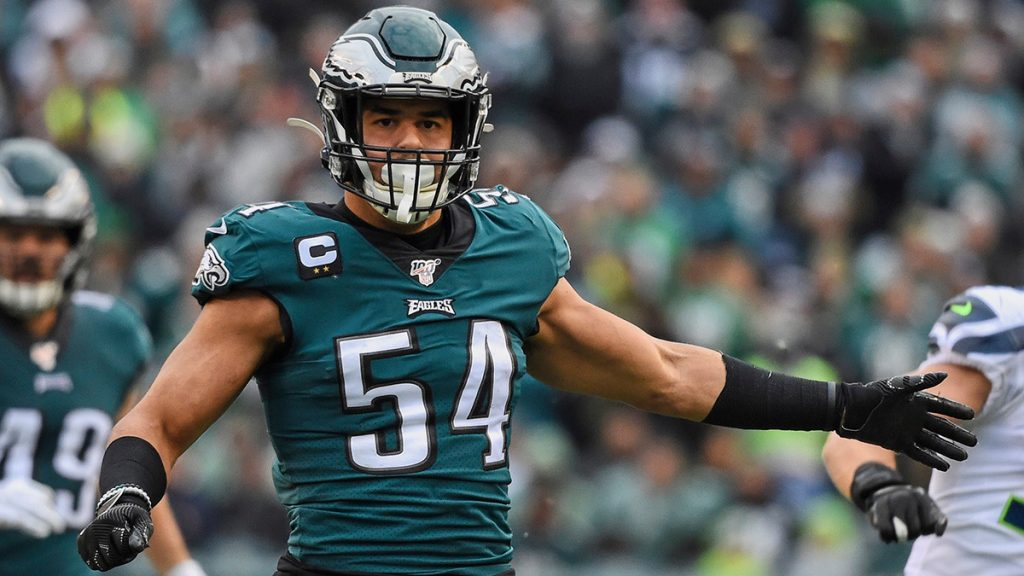 PHILADELPHIA, PA - NOVEMBER 24: Philadelphia Eagles Linebacker Kamu Grugier-Hill (54) defends during the game between the Seattle Seahawks and the Philadelphia Eagles on November 24, 2019 at Lincoln Financial Field in Philadelphia PA.(Photo by Andy Lewis/Icon Sportswire via Getty Images)