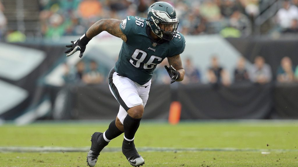 Philadelphia Eagles defensive end Derek Barnett (96) in action against the Arizona Cardinals during an NFL game at Lincoln Financial Field in Philadelphia, PA on Sunday, Oct. 08, 2017. (AP Photo/Brad Penner)