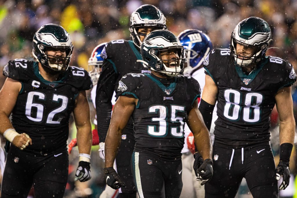 Dec 9, 2019; Philadelphia, PA, USA; Philadelphia Eagles running back Boston Scott (35) celebrates his touchdown run with tight end Dallas Goedert (88) and center Jason Kelce (62) during the third quarter against the New York Giants at Lincoln Financial Field. Mandatory Credit: Bill Streicher-USA TODAY Sports