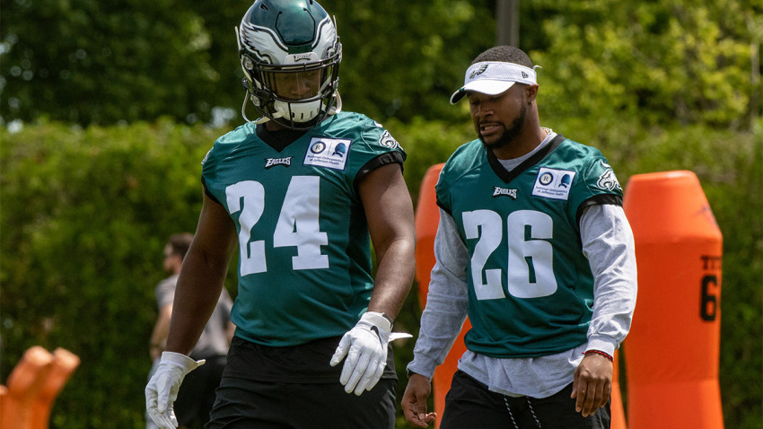 PHILADELPHIA, PA - MAY 21: Philadelphia Eagles running back Jordan Howard (24) and running back Miles Sanders (26) during the Philadelphia Eagles OTA on May 21, 2019 at the Novacare Training Complex in Philadelphia, PA (Photo by John Jones/Icon Sportswire via Getty Images)