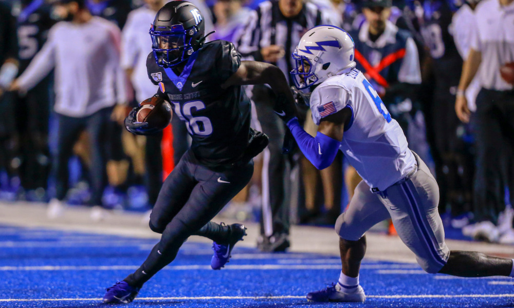 Sep 20, 2019; Boise, ID, USA; Boise State Broncos wide receiver John Hightower (16) runs for gain during the second half versus the Air Force Falcons at Albertsons Stadium. Boise State defeats Air Force 30-19. Mandatory Credit: Brian Losness-USA TODAY Sports