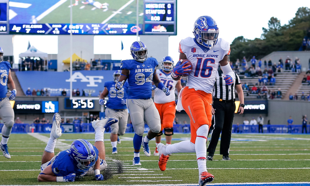 Oct 27, 2018; Colorado Springs, CO, USA; Boise State Broncos wide receiver John Hightower (16) scores a touchdown past Air Force Falcons linebacker Parker Noren (44) in the first quarter at Falcon Stadium. Mandatory Credit: Isaiah J. Downing-USA TODAY Sports