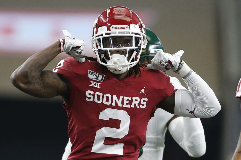 Dec 7, 2019; Arlington, TX, USA; Oklahoma Sooners wide receiver CeeDee Lamb (2) reacts after gaining a first down against the Baylor Bears in the first quarter in the 2019 Big 12 Championship Game at AT&T Stadium. Mandatory Credit: Tim Heitman-USA TODAY Sports
