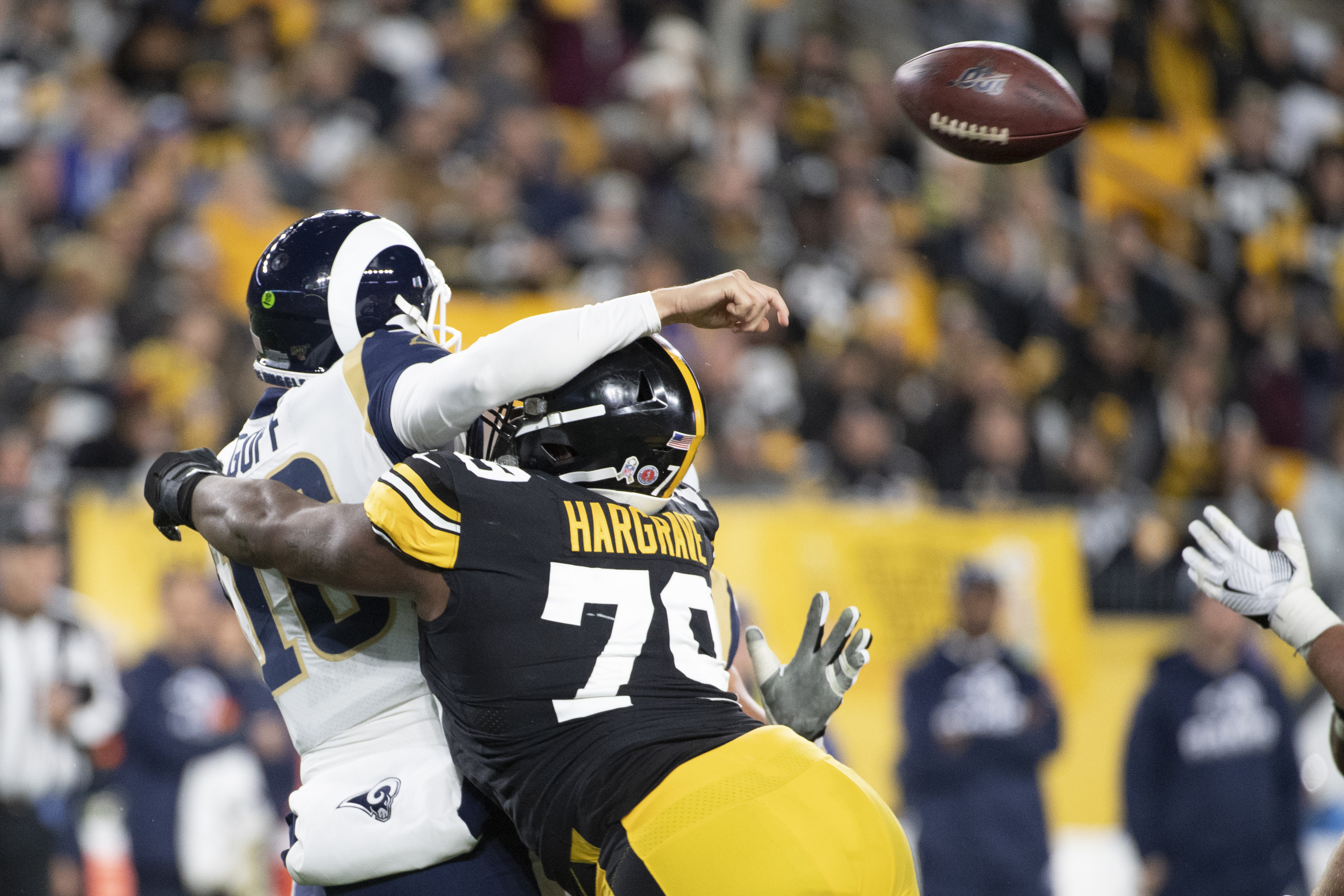 Pittsburgh Steelers nose tackle Javon Hargrave (79) causes a fumble by  Los Angeles Rams quarterback Jared Goff (16) that was returned for a touchdown in the second quarter at Heinz Field on Sunday, Nov. 10, 2019 in Pittsburgh. Barry Reeger   Special to PennLive