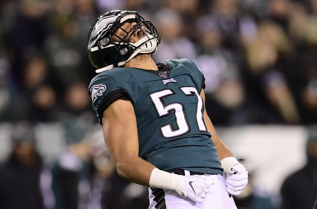PHILADELPHIA, PENNSYLVANIA - JANUARY 05: T.J. Edwards #57 of the Philadelphia Eagles celebrates a defensive stop on a punt return by the Seattle Seahawks during the NFC Wild Card Playoff game  at Lincoln Financial Field on January 05, 2020 in Philadelphia, Pennsylvania. (Photo by Steven Ryan/Getty Images)