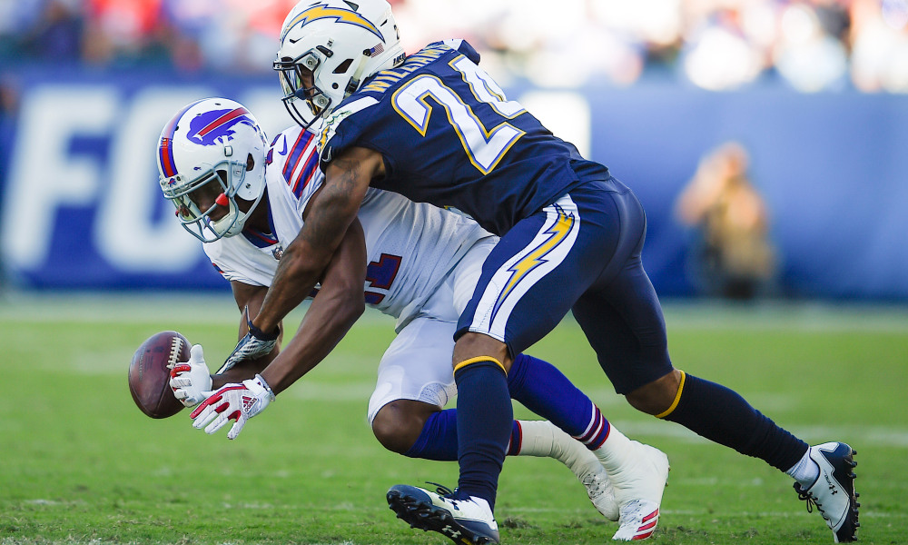 Nov 19, 2017; Carson, CA, USA; Los Angeles Chargers cornerback Trevor Williams (24) breaks up a pass for Buffalo Bills wide receiver Zay Jones (11) during the third quarter at StubHub Center. Mandatory Credit: Kelvin Kuo-USA TODAY Sports