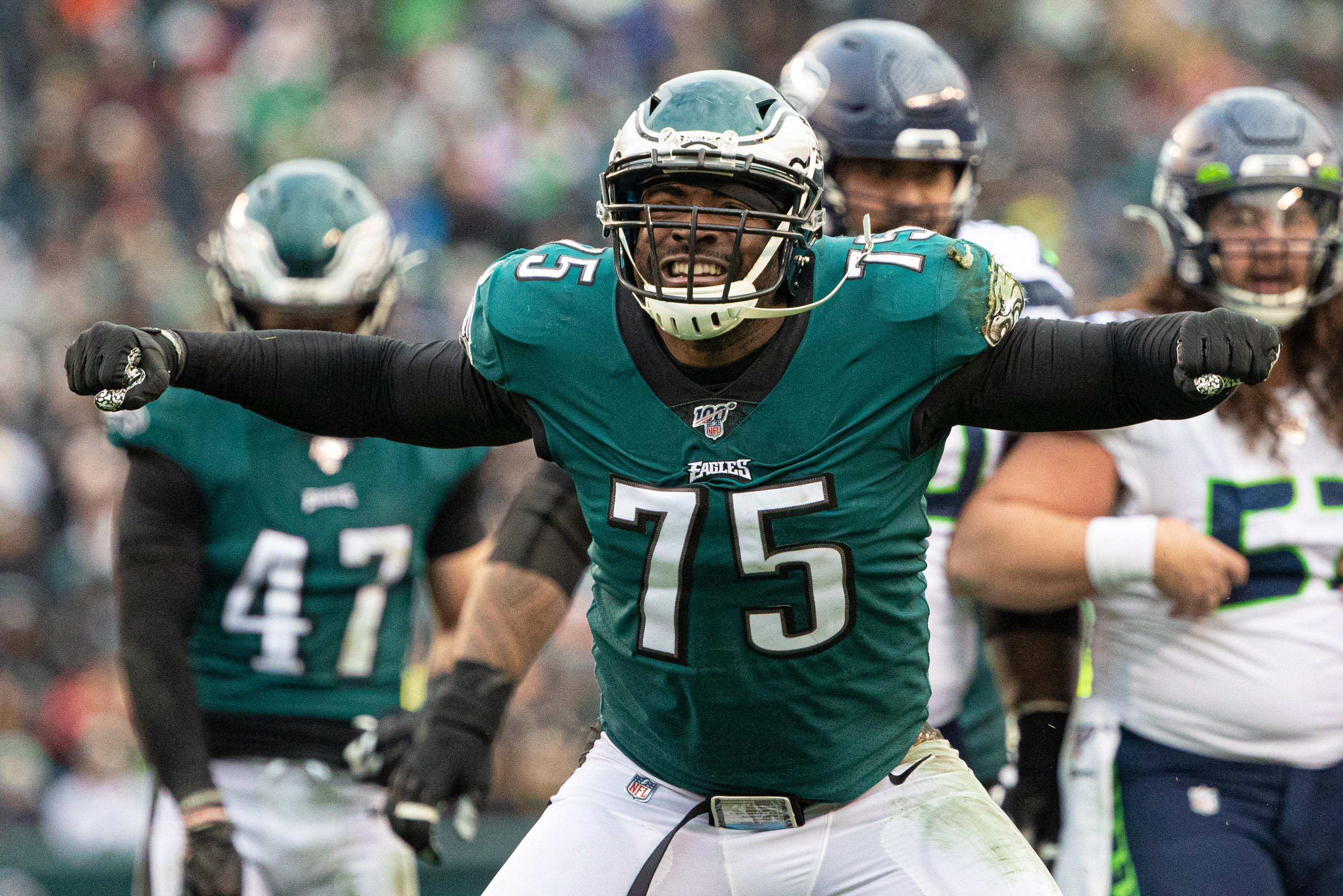 Nov 24, 2019; Philadelphia, PA, USA; Philadelphia Eagles defensive end Vinny Curry (75) reacts against the Seattle Seahawks during the third quarter at Lincoln Financial Field. Mandatory Credit: Bill Streicher-USA TODAY Sports
