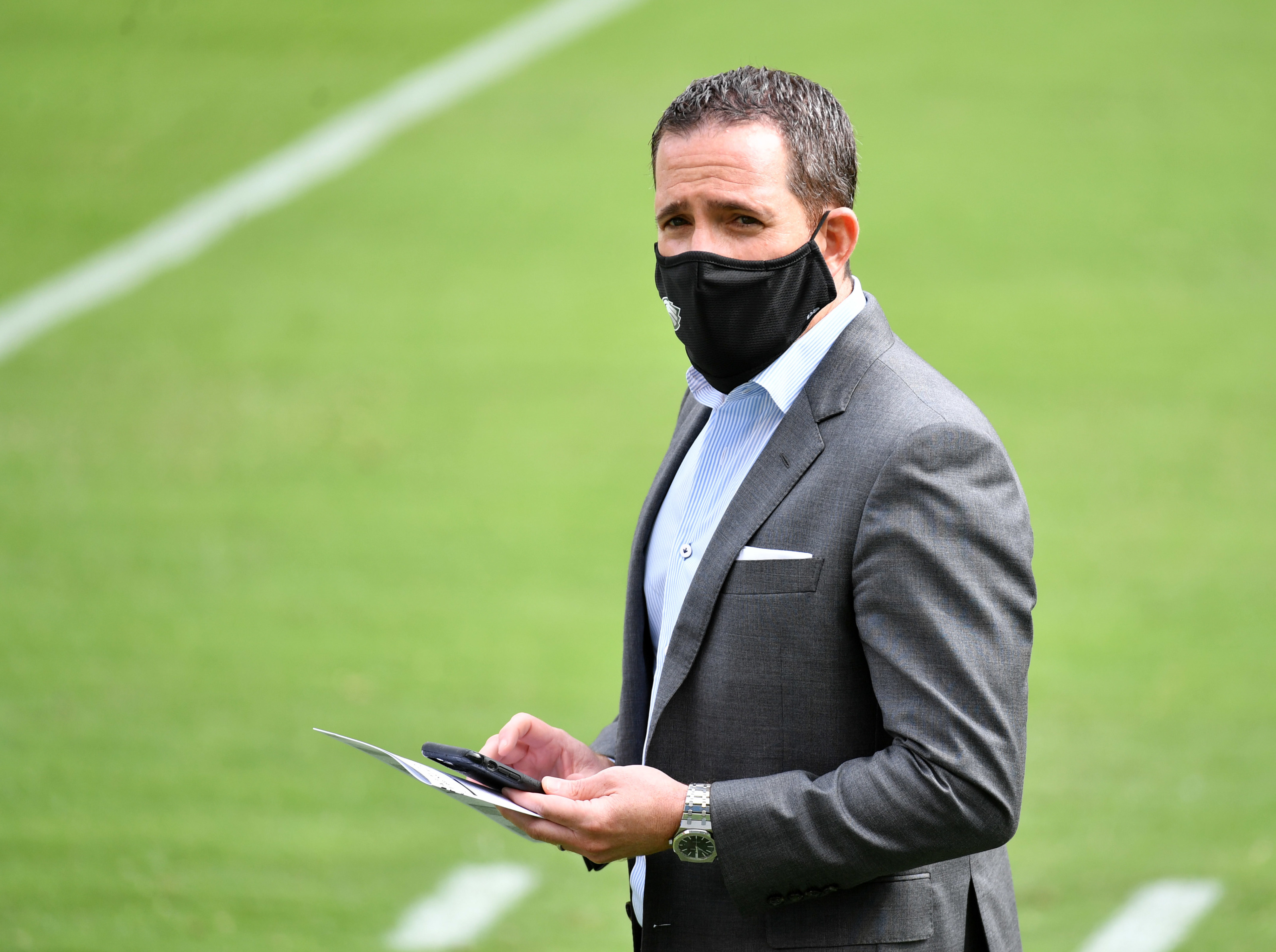 Sep 27, 2020; Philadelphia, Pennsylvania, USA; Philadelphia Eagles general manager Howie Roseman on field during warmups against the Cincinnati Bengals at Lincoln Financial Field. Mandatory Credit: Eric Hartline-USA TODAY Sports